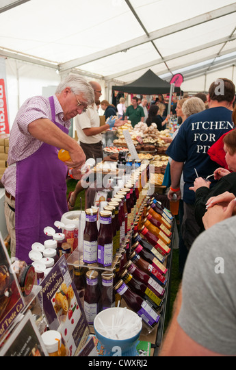 A sauces stall at the Ludlow 2012 Food Festival - Stock Image