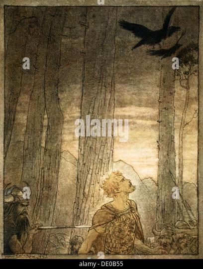 'Siegfried's death', 1924.  Artist: Arthur Rackham - Stock Image
