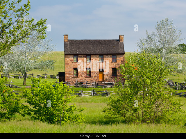 The old stone house in the center of the Manassas Civil War battlefield site near Bull Run, Virginia, USA - Stock Image