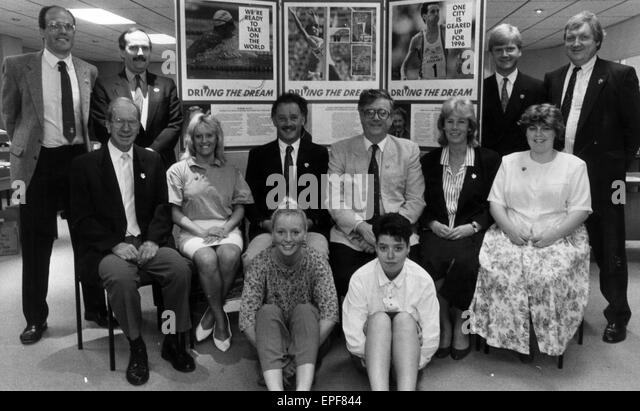 Manchester  Olympic Bid for the 1996 Games, September 1990.  The Olympic Bid team. - Stock Image