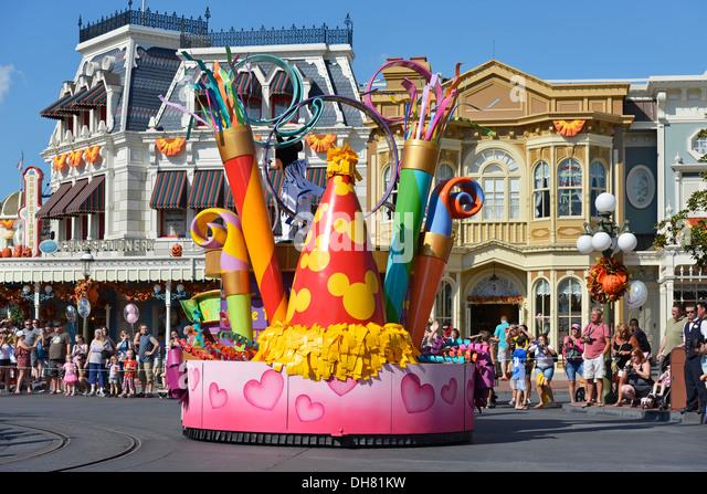 Float at a Parade on Main Street, Magic Kingdom, Disney World Resort, Orlando Florida - Stock Image