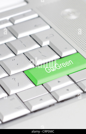 A keyboard with an eco option - Stock Image