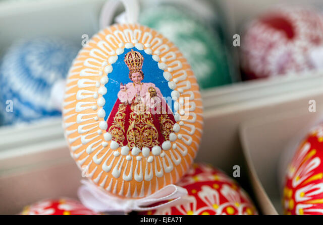 Infant Jesus, Easter Eggs, Prague, Czech Republic, Europe - Stock Image