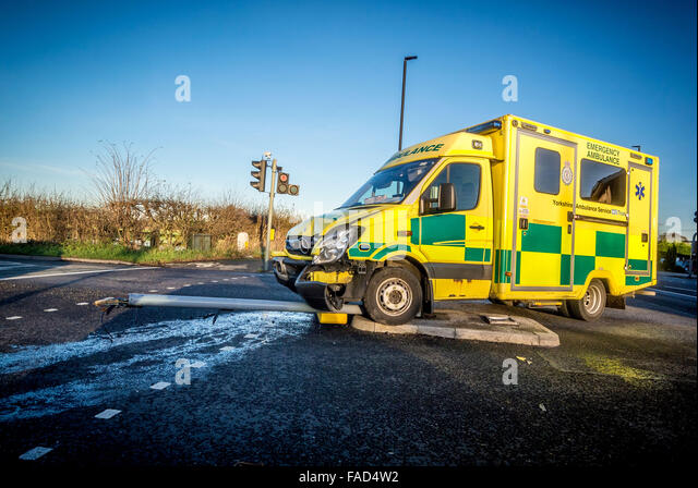 Ambulance crashed into traffic lights at junction of New Lane and Malton Road in Huntington, York. Photo Bailey - Stock Image