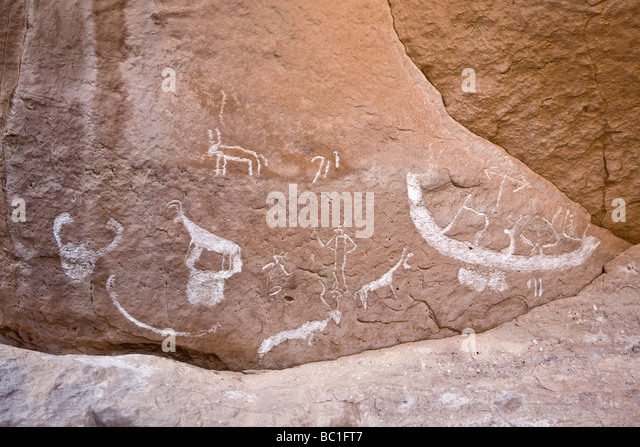 Winklers famous Rock-Art site 18 in Wadi  el Kash in the Eastern Desert of Egypt. Rediscovered in 2004 and re-recorded - Stock Image
