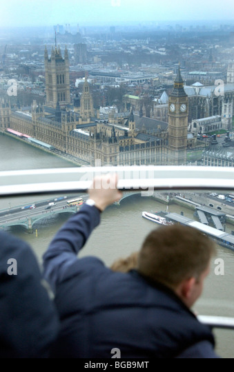 Photograph of London eye visiting London sites inside pod view - Stock-Bilder