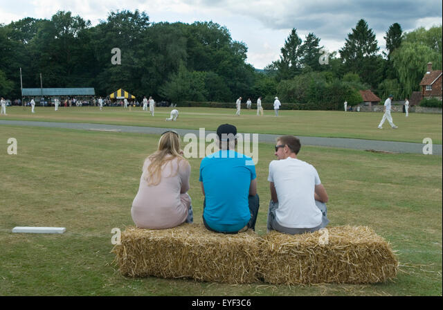 Village Cricket Sussex UK HOMER SYKES - Stock Image