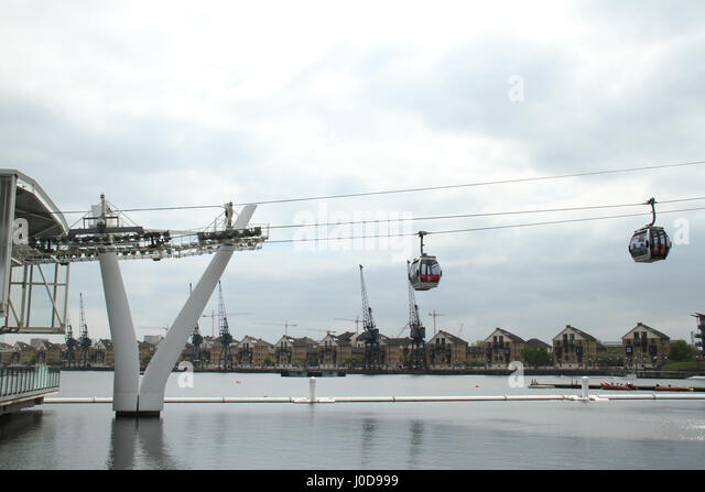 London, UK. 12th Apr, 2017. London, United Kingdom - April​ ​12: Emirates Air Line (Cable car) at the Royal Docks - Stock Image