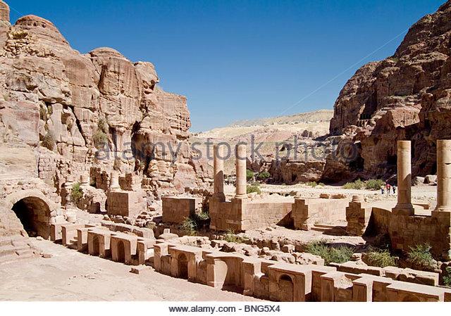 roman amphitheater,petra,jordan - Stock-Bilder
