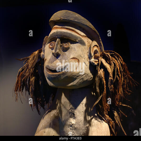 The figure of the men pose image for Candy, the paternal grandfather of the author, Safanminim  1961 Asmat, Atjametsj, - Stock Image