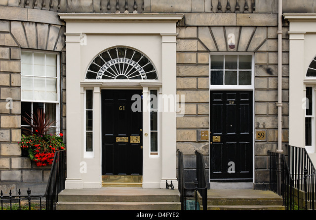 Georgian front doors, Edinburgh, Scotland - Stock Image