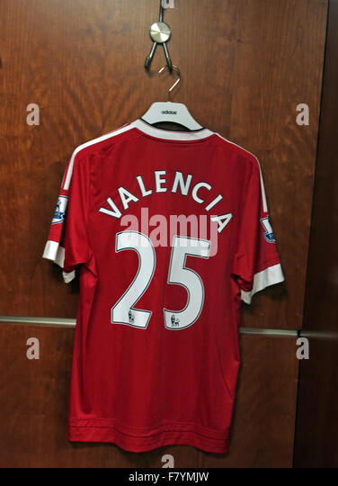 Antonio Valencia 25 shirt in MUFC dressing room, Old Trafford - Stock Image