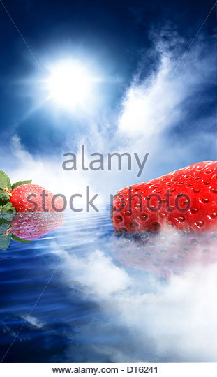 strawberry, dream, strawberries, dreams, unusual, fruit, odd, surrealism, water, bizarre, colorful, colourful, daydream, - Stock Image