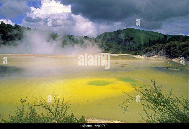 New Zealand north island near rotorua Waiotapu thermal area chamgane pools thermal lake - Stock Image