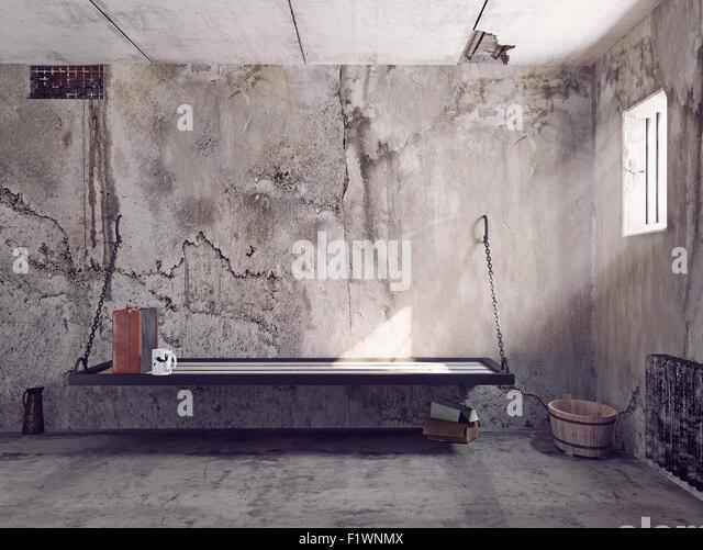 dirty jail cell interior. 3d concept - Stock-Bilder