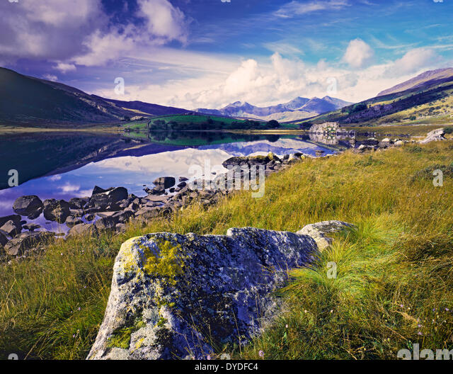 A view across Llyn Mymbyr towards Snowdon. - Stock Image