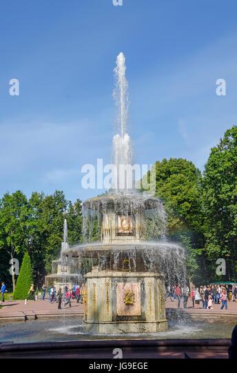 Peterhof Palace Roman Fountain in Lower Garden near Saint Petersburg, Russia - Stock Image