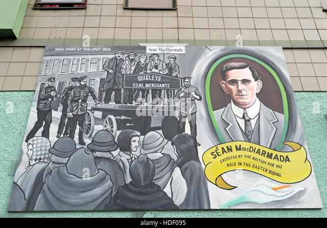 Belfast Falls Rd Republican Mural- Sean MacDiarmada executed by the British for Easter Rising - Stock Image