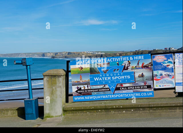 Poster for watersports activities, Newquay, Cornwall, England UK - Stock Image