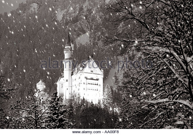 Christmas Xmas holiday season Neuschwanstein Castle Schwangau Germany - Stock Image