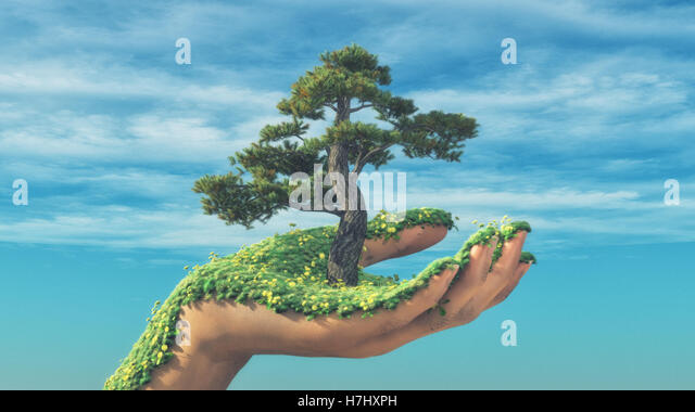 Hand holding a tree while is bloomed by grass and flowers. This is a 3d render illustration - Stock Image