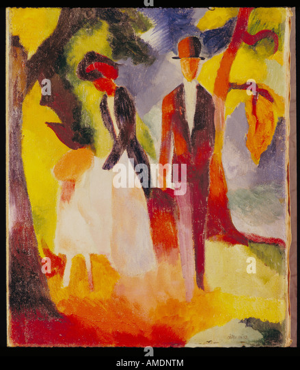'fine arts, Macke, August, (3.1.1887 - 26.9.1914), painting, 'Leute am blauen See', 'People at the - Stock Image