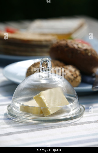 Butter and bread - Stock Image