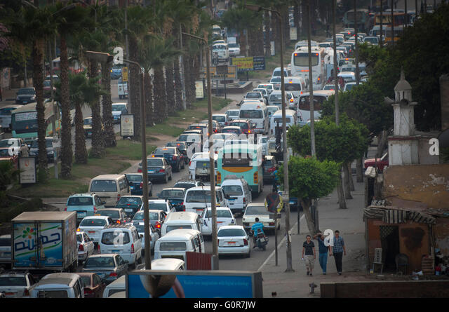 Traffic Jams in Cairo, Egypt. - Stock Image