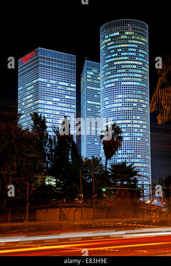 Azrieli Towers At night, Tel Aviv, Israel - Stock Image