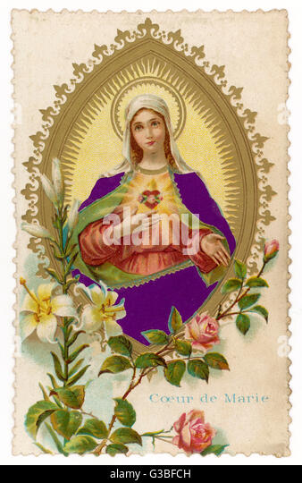 Mary shows you her  sacred heart. - Stock Image