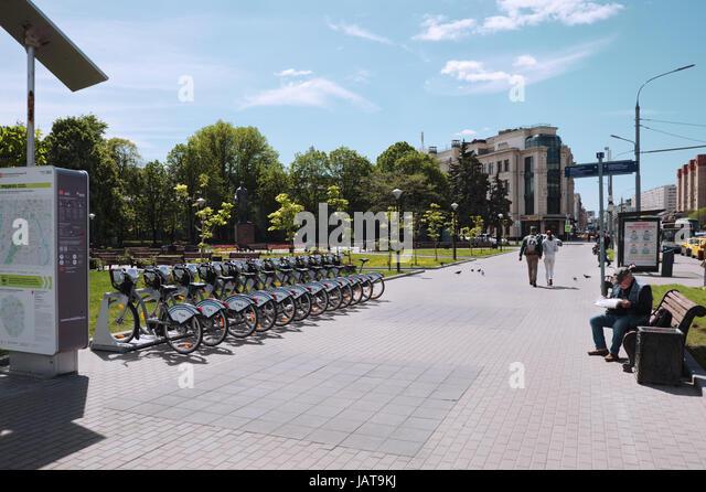 Moscow, Russia - May 22, 2017;  Bolshaya Yakimanka street. City centre. Near to metro station Polyanka. Point of - Stock-Bilder
