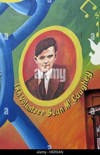 Belfast Falls Rd Republican Mural- IRA Volunteer Sean McCaughey - Stock Image