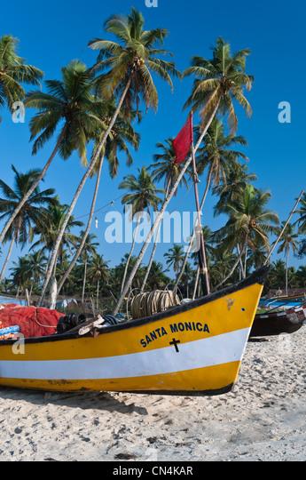 Fishing boats Colva Beach Goa India - Stock Image