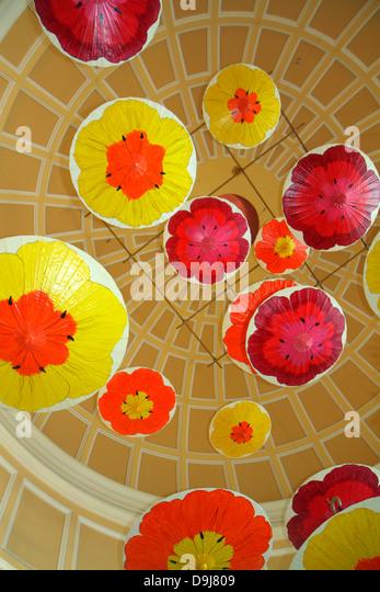 Nevada Las Vegas The Strip South Las Vegas Boulevard Bellagio hotel casino lobby ceiling decor - Stock Image