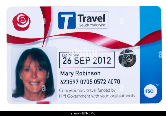 Senior citizens concessionary Travel South Yorkshire bus travel pass model released - Stock-Bilder