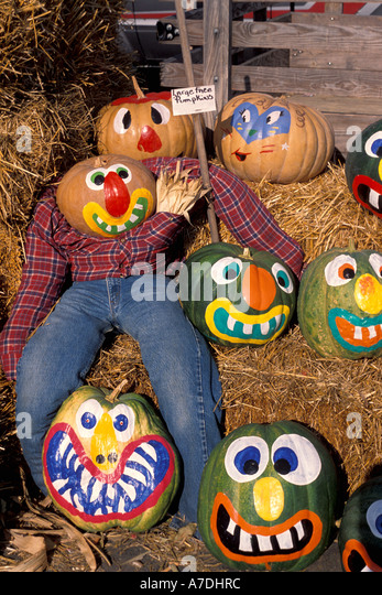 Halloween pumpkins  painted faces Fall Colors - Stock Image