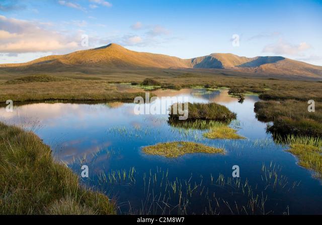 Bog pool beneath the Nephin Beg Mountains, Ballycroy National Park, County Mayo, Ireland. - Stock-Bilder