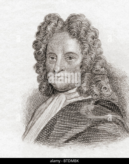 Edmond Halley, 1656 to 1742. English astronomer, geophysicist, mathematician, meteorologist, and physicist. - Stock Image
