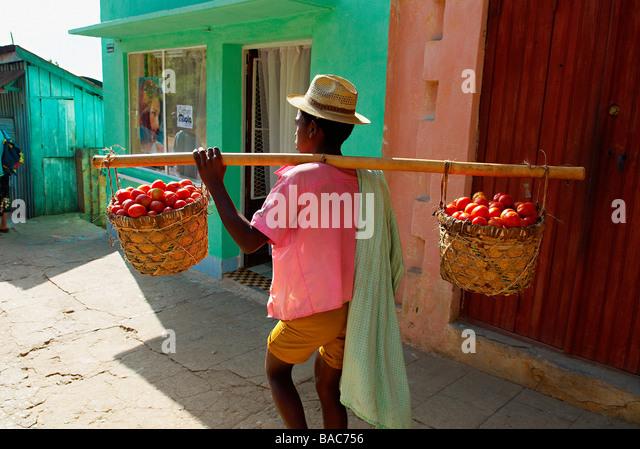 Madagascar, High Matsiatra Region, Fianarantsoa, tomato carrier - Stock-Bilder