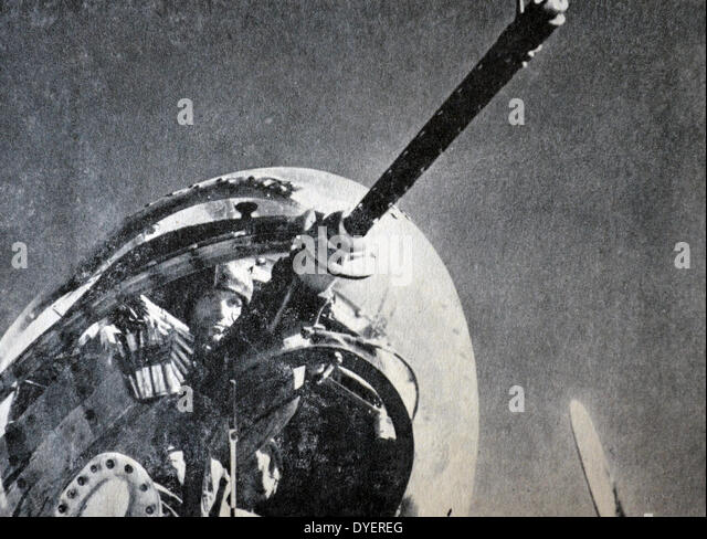 World war Two: Free French gunner in an aircraft gun turret - Stock Image