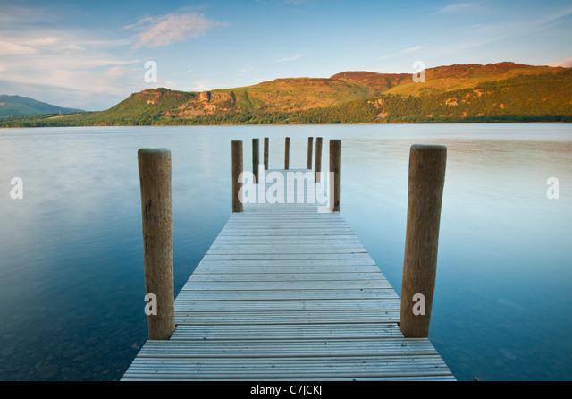Landing Stage at Brandelhow Bay, Lake District, Cumbria, UK - Stock Image