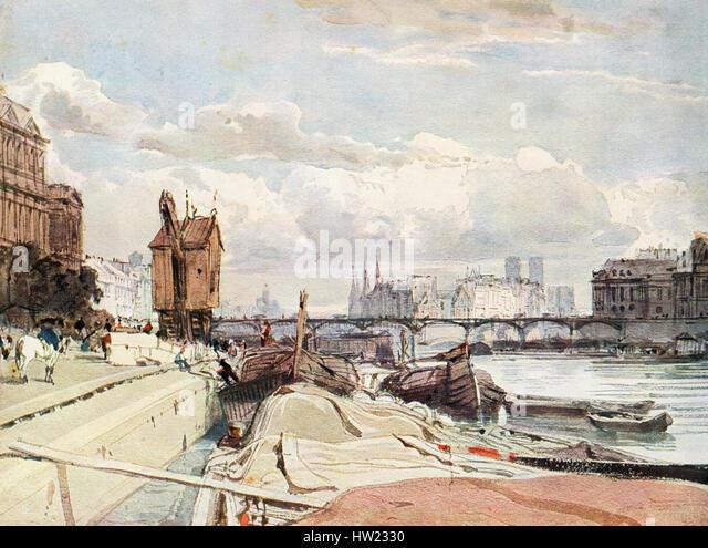 The Quai du Louvre and the Pont des Arts, Paris, France in the 19th century.  After the painting by Richard Parkes - Stock-Bilder