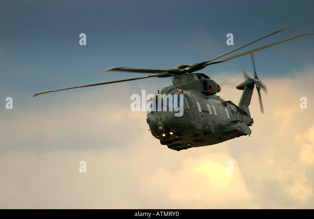 Military helicopter AgustaWestland EH101 - Stock Image