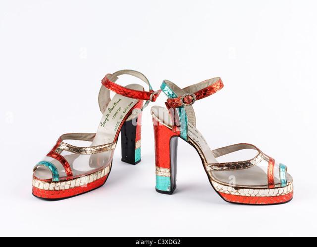 Pair of platform sandals, by Terry de Havilland. UK, late 20th century - Stock-Bilder