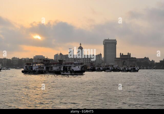 Mumbai harbor with Gate of India, India - Stock Image