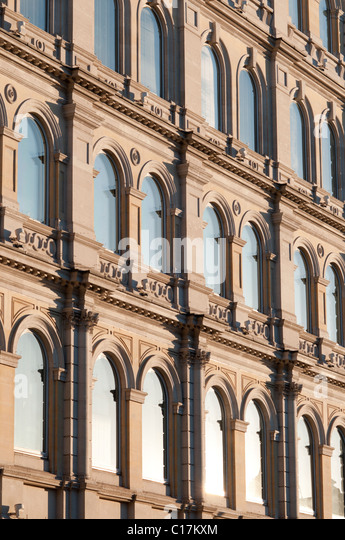 Close up of building windows facing trafalgar Square in London,England - Stock Image