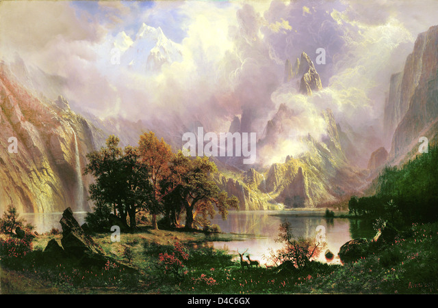 Albert Bierstadt, Rocky Mountain Landscape 1860 Oil on canvas. The White House. - Stock Image