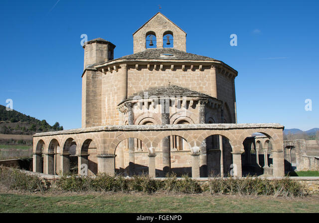 Eunate chapel Spain - Stock Image