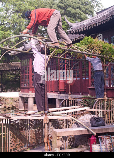 Suzhou, China, Asia, Humble Administrator's Garden; Building Frame on Terrace with Bamboo - Stock Image