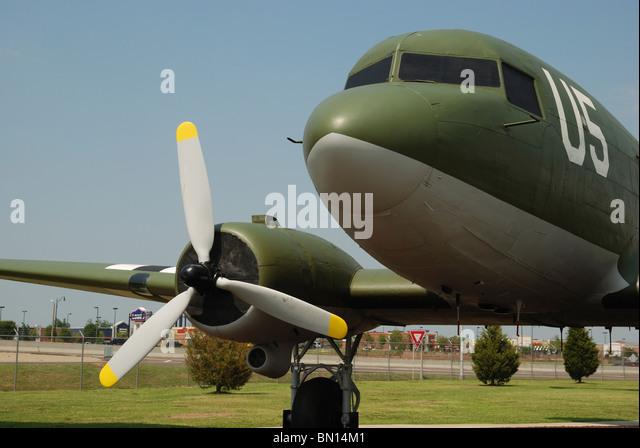 A Douglas C-47 'Skytrain' transport aircraft on display at the Tinker Air Force Base, Oklahoma City, Oklahoma, - Stock Image